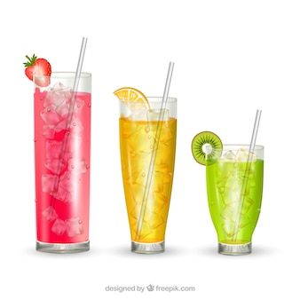 Three cocktails in realistic style