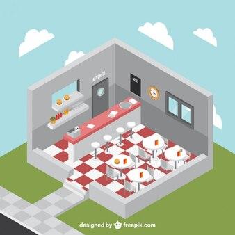 Three dimensional interior restaurant