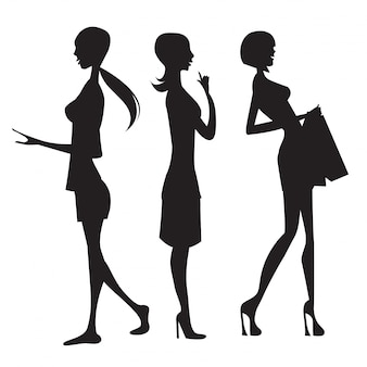 Three fashion girls silhouettes