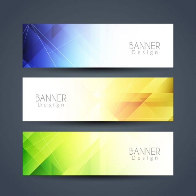 Three geometric banners with different colors