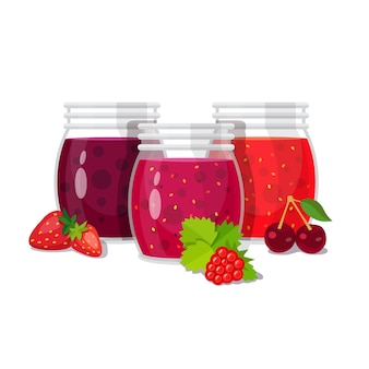 Three glass jars of jam with berries