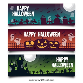 Three halloween banners with elements
