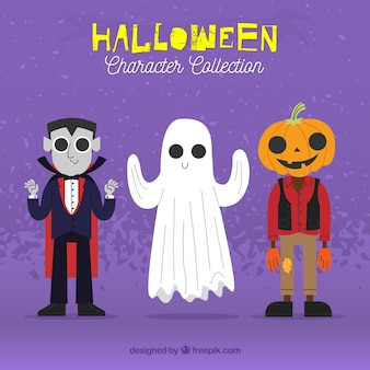 Three hand drawn halloween characters
