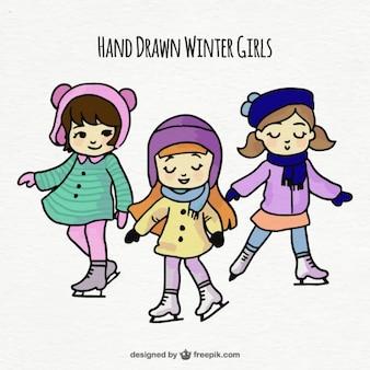 Three hand drawn skating girls