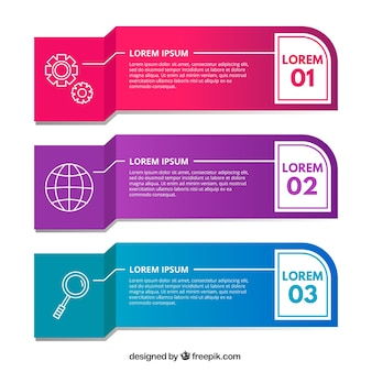 Three infographic banners with different colors