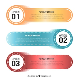 Three infographic banners with round shapes
