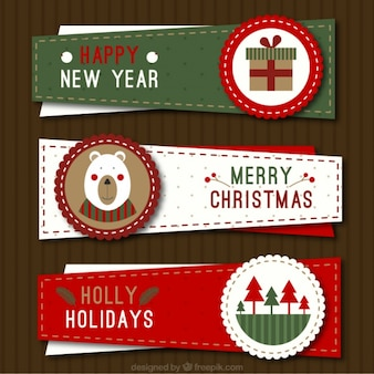 Three irregular christmas banners in vintage style