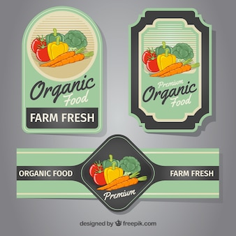 Three labels with colored vegetables
