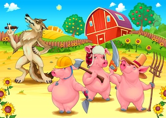 Three little pigs and bad wolf