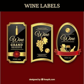 Three luxury wine labels