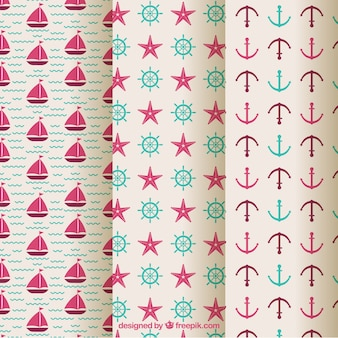 Three patterns with nautical elements