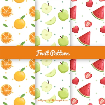 Three patterns with tasty fruits