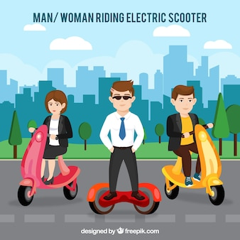 Three persons riding electric scooter