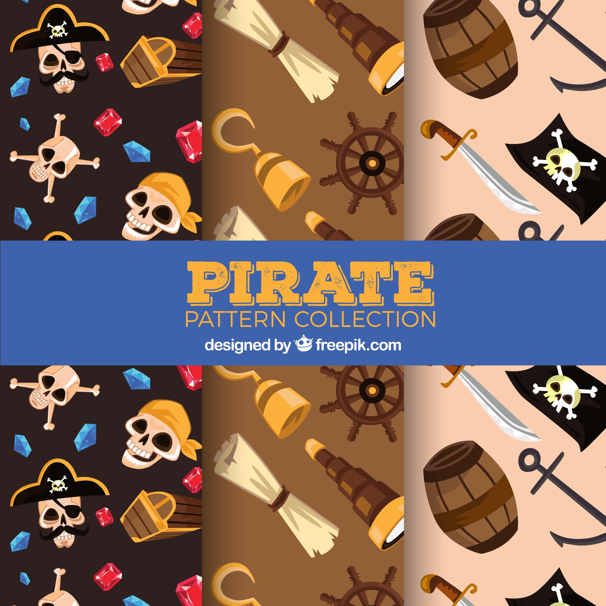 Three pirate patterns with colored objects