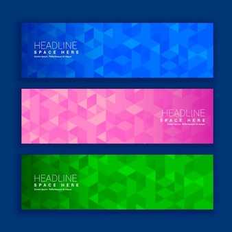 Three polygonal banners with bright colors