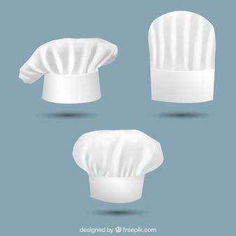 Three realistic chef hats