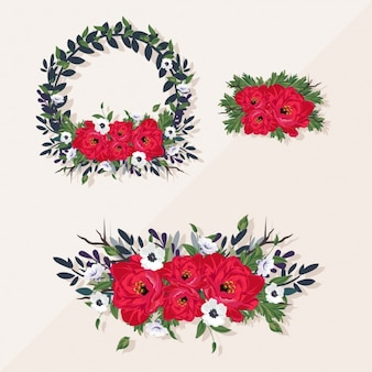 Three romantic floral frames