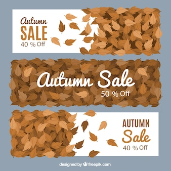 Three sale banners with dry leaves