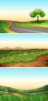 Three scenes with road in countryside illustration