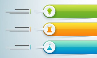Three steps, Timeline Infographics layout with icons set, in black and white and colorful versions.