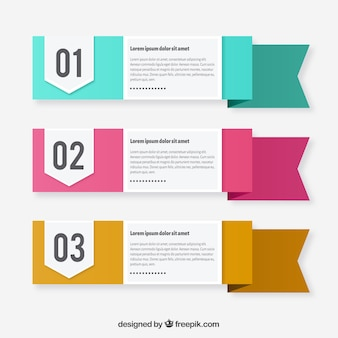 Three text template ribbons