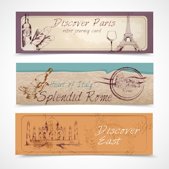 Three travel banners