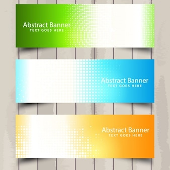 Three useful banners on a wooden background