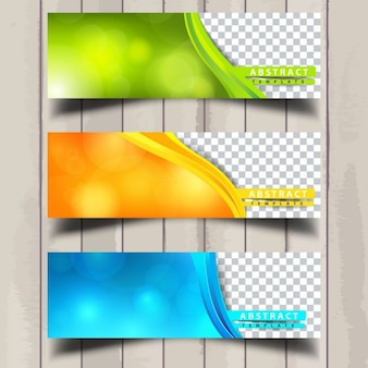Three useful banners with wavy shapes