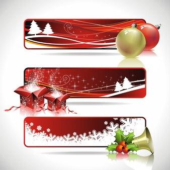 クリスマステーマの3つのベクトルバナーデザイン..