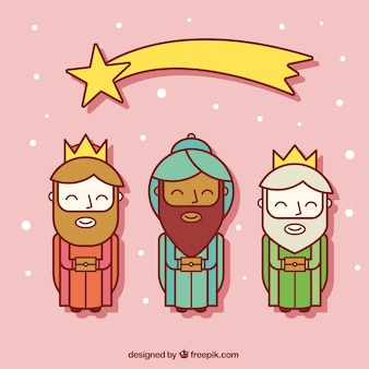 Three Wise Men with Shooting Star Flat Icons