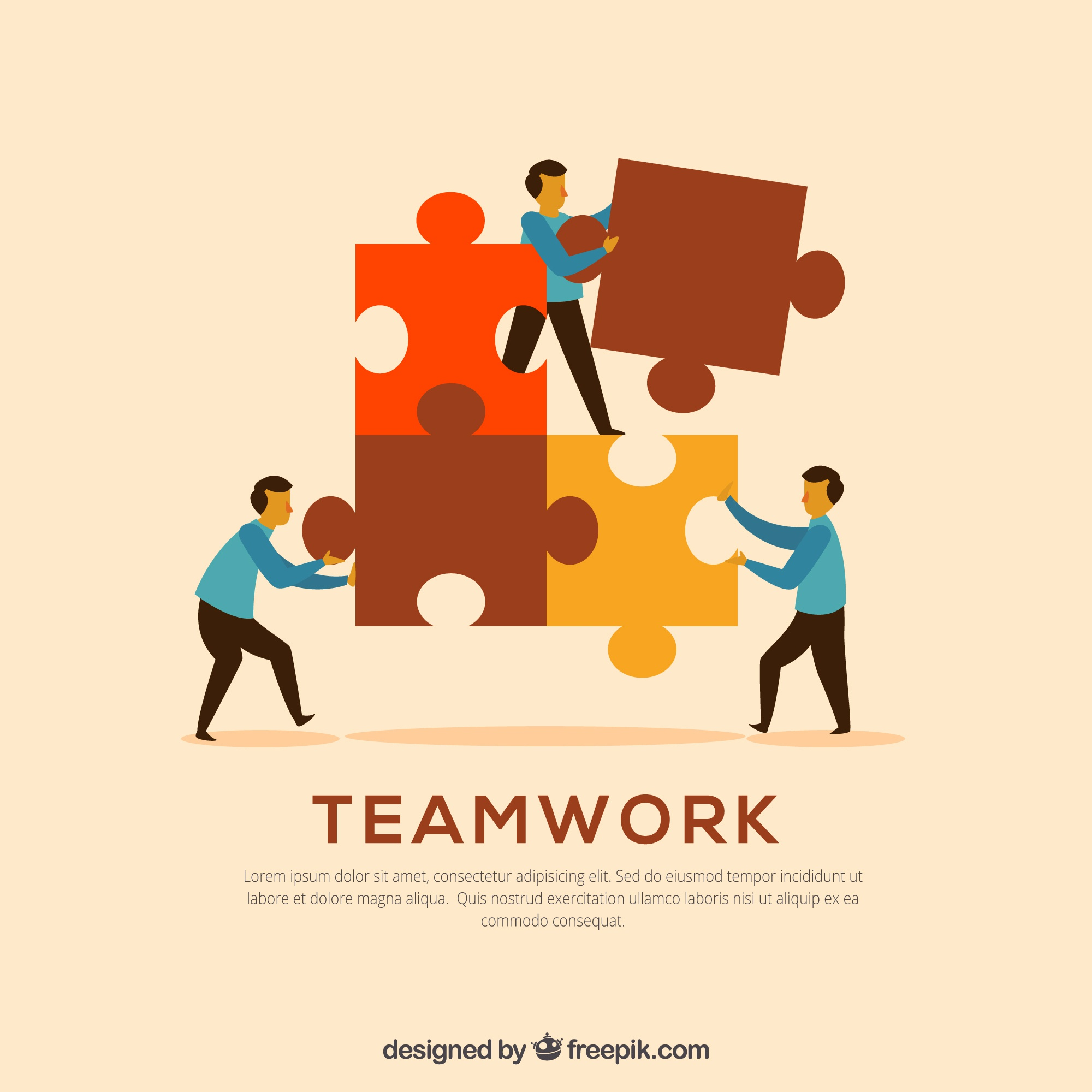 Three workers with puzzle pieces