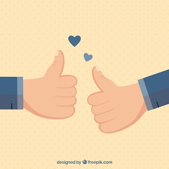 Thumb up background with two hearts