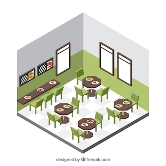 Tidy dinning room with isometric perspective