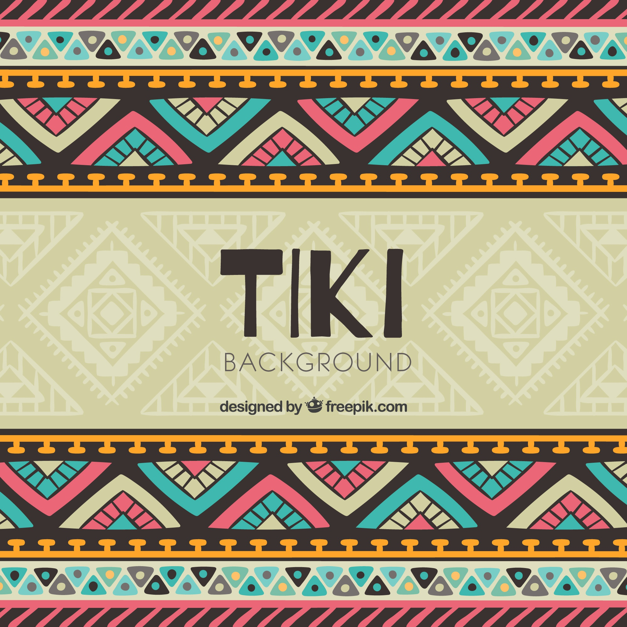Tiki background with colorful tribal design