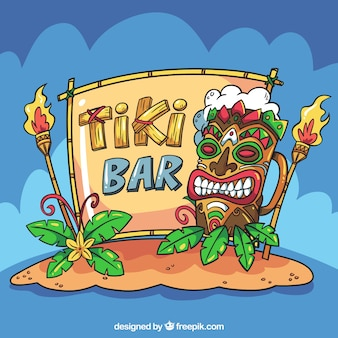 Tiki bar background with cartoon style