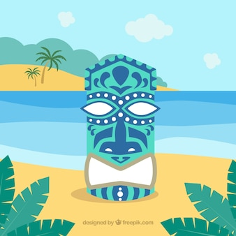 Tiki mask background on the beach