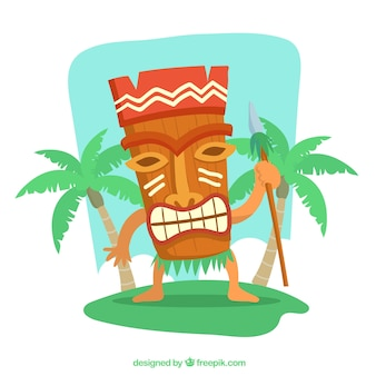 Tiki mask background with a spear