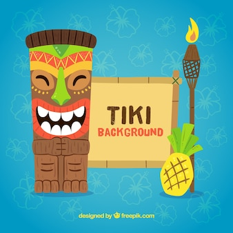 Tiki mask background with torch and pineapple in flat design