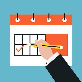 Time management and planning events flat vector illustration design. Business concept for date planning, organizing events and events management. Icon design