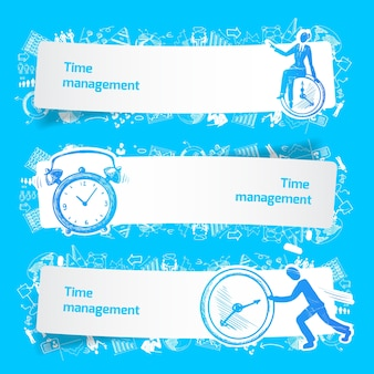 Time management set banners sketch with business people and alarm clocks isolated vector illustration