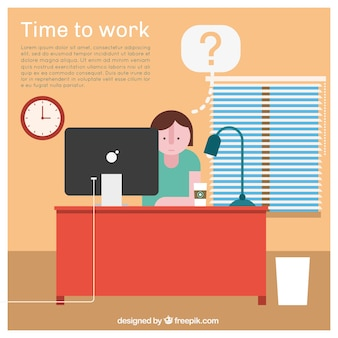 Time to work concept in flat design