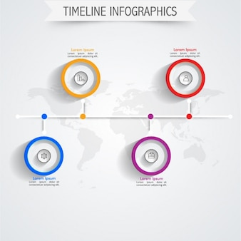 Timeline infographic template with colorful circles