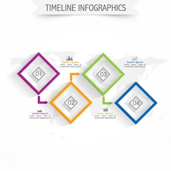 Timeline infographic template with square options
