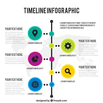 Timeline infographic with world map
