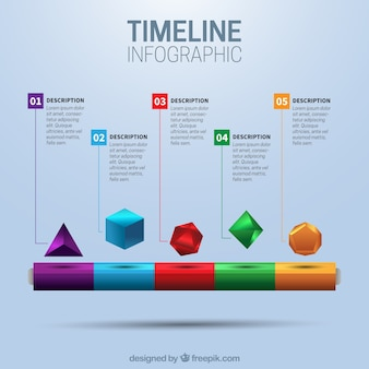 Timeline with geometric shapes
