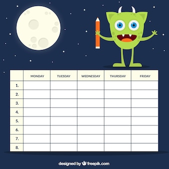 Timetable with an alien and moon