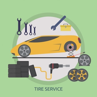 Tire service background design
