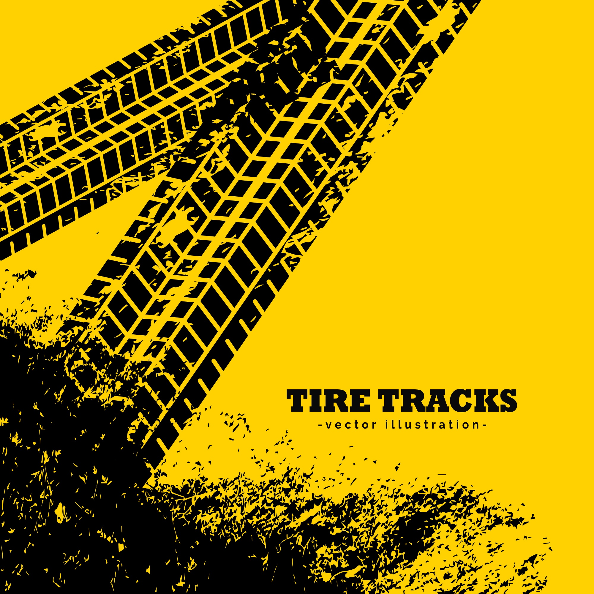 Tire tracks on grunge yellow background