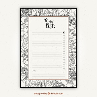 To do list template with vintage vegetation