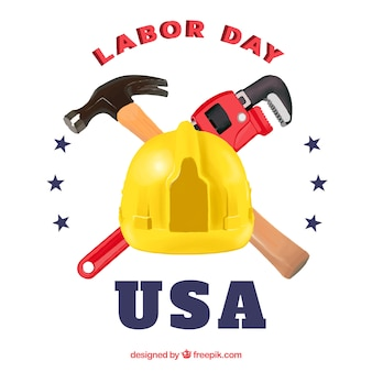 Tools and helmet for labor day